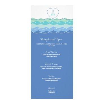 Valentines Themed Blue Waves Loopy Heart Beach Wedding Menu Card
