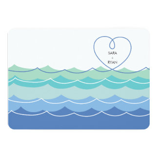 "Blue Waves Loopy Heart Engagement Party Invitation 5"" X 7"" Invitation Card"