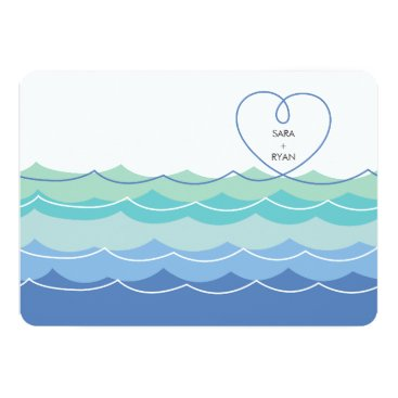 Valentines Themed Blue Waves Loopy Heart Engagement Party Invite