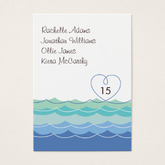 Blue Waves Loopy Heart Guest Escort Place Card