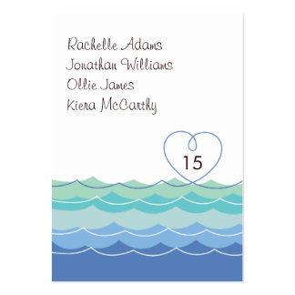 Blue Waves Loopy Heart Guest Escort Place Card Large Business Card