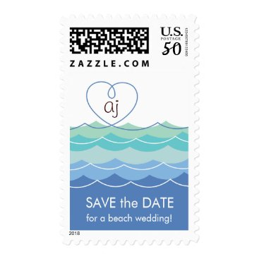 Valentines Themed Blue Waves Loopy Heart Save The Date Custom Stamps