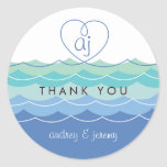 Blue Waves Loopy Heart Thank You Gift Sticker Stickers