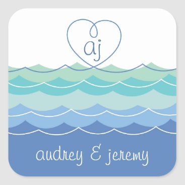 Valentines Themed Blue Waves Loopy Heart Thank You Gift Sticker