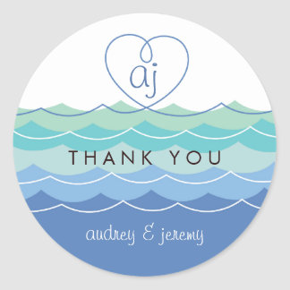Blue Waves Loopy Heart Thank You Wedding Sticker