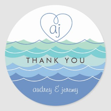 Valentines Themed Blue Waves Loopy Heart Thank You Wedding Sticker
