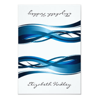 Blue Waves Modern Abstract Place Card