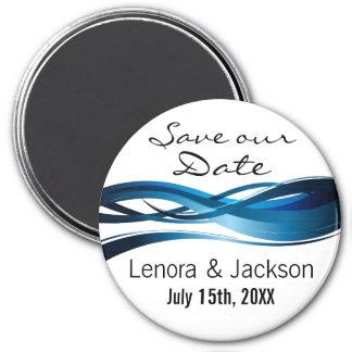 Blue Waves Modern Wedding Save the Date 3 Inch Round Magnet