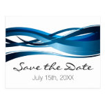 Blue Waves Modern Wedding Save the Date Postcard