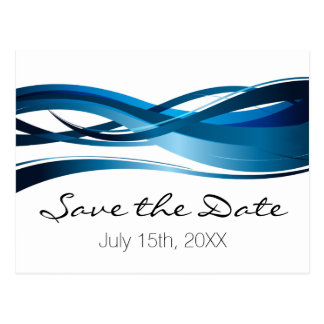 Blue Waves Modern Wedding Save the Date Postcard