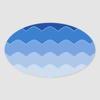 Blue Waves Oval Sticker