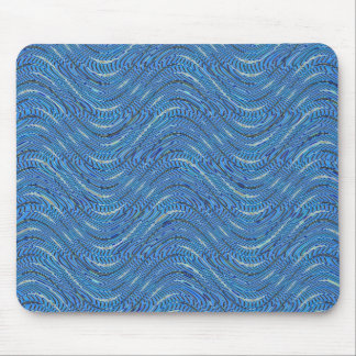 blue waves pattern mouse pad