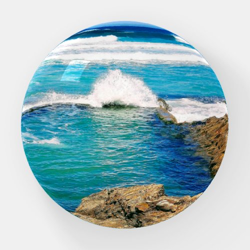 Blue waves, Perranporth, Cornwall Paperweight