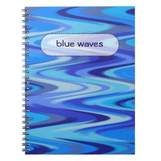 blue waves spiral notebook