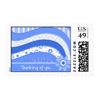 Blue Waves Thinking of You Postage