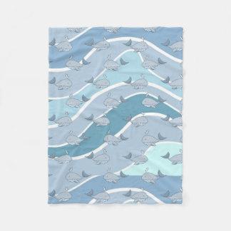 Blue Waves, Whale Seamless Pattern Fleece Blanket