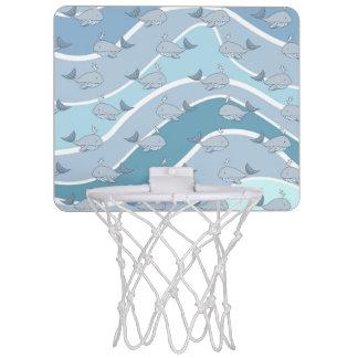 Blue Waves, Whale Seamless Pattern Mini Basketball Backboards
