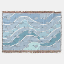 Blue Waves, Whale Seamless Pattern Throw