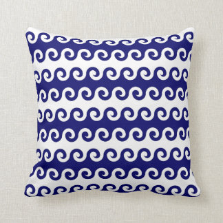 Blue Waves White Background Nautical 16 X 16 Throw Pillow
