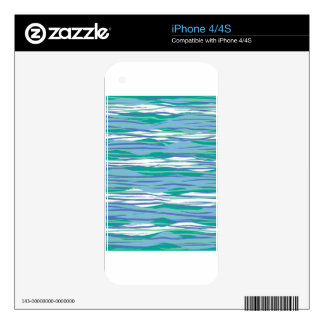 Blue Wavy Stripes Decal For The iPhone 4