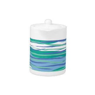 Blue Wavy Stripes Teapot