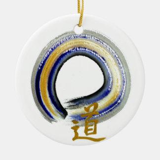 Blue Way, Sumi-e Enso Ceramic Ornament