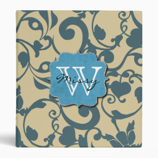 Blue Weathered Monogrammed Binder