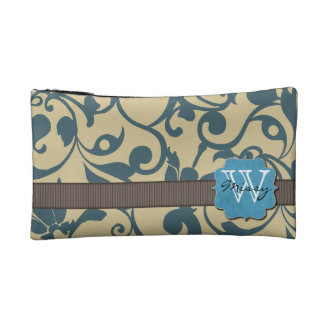 Blue Weathered Monogrammed Cosmetic Bag