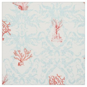 Beach Themed Blue Weathered Vintage Beach Ocean Coral Damask Fabric