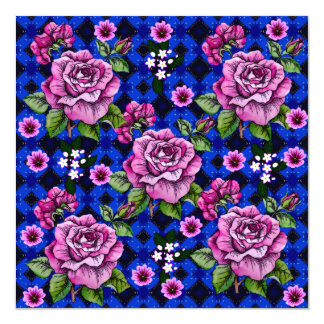 Blue Weaving Pink Roses Card