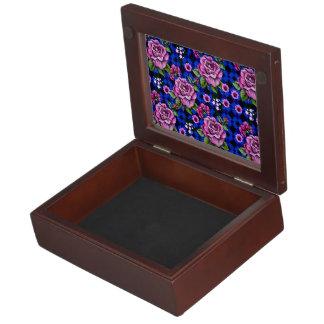 Blue Weaving Pink Roses Keepsake Box