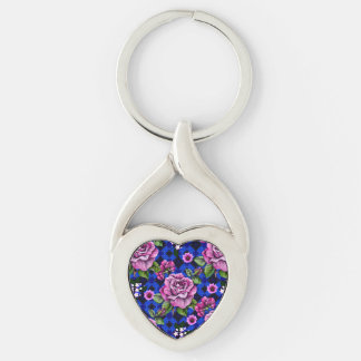 Blue Weaving Pink Roses Silver-Colored Heart-Shaped Metal Keychain