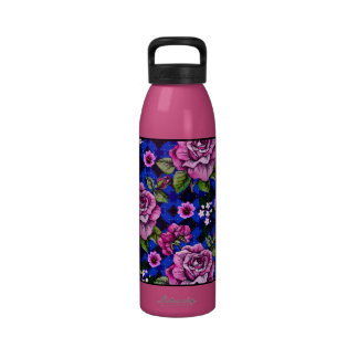 Blue Weaving Pink Roses Reusable Water Bottle
