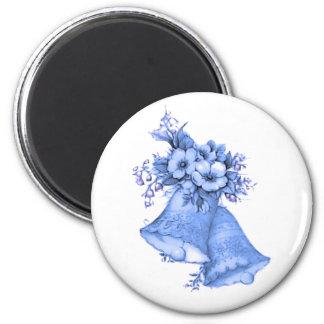 Blue Wedding Bells 2 Inch Round Magnet