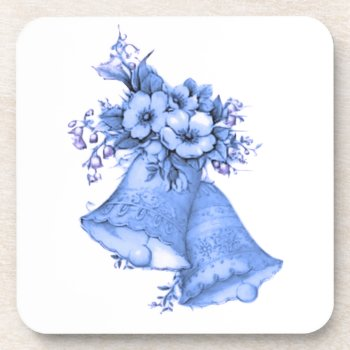 Blue Wedding Bells Beverage Coaster