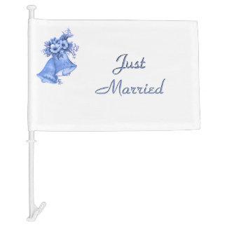Blue Wedding Bells Car Flag