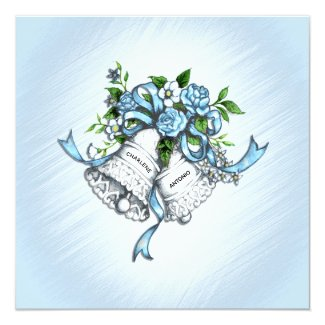 Blue Wedding Bells Invitation