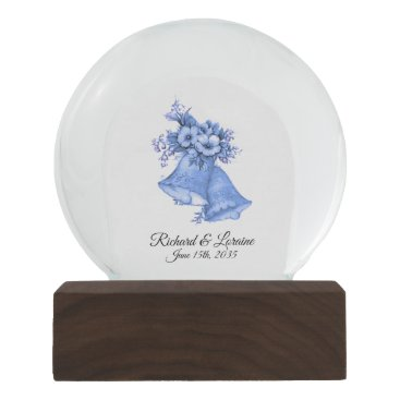 Bride Themed Blue Wedding Bells Names and Date Snow Globe