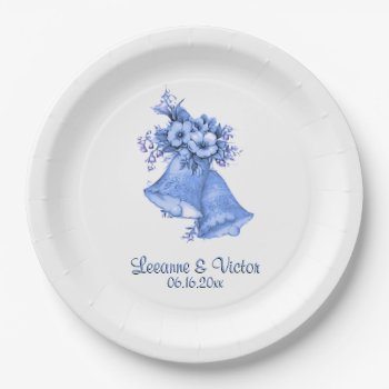 Blue Wedding Bells Personalized Paper Plate