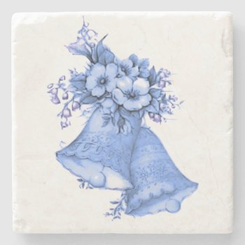 Blue Wedding Bells Stone Coaster