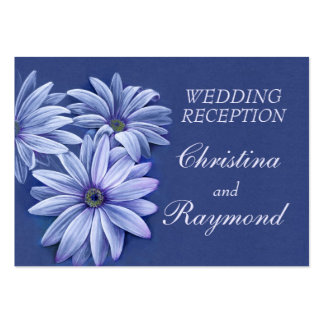 Blue wedding daisy art info enclosure card large business cards (Pack of 100)