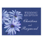 Blue wedding daisy art info enclosure card business card