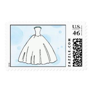 Blue Wedding Dress Postage Stamp