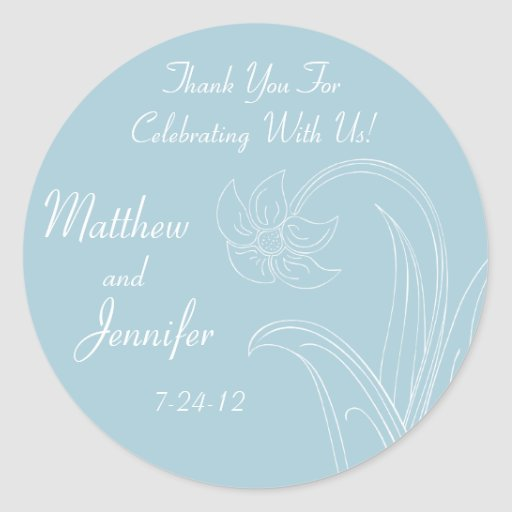 Blue Wedding Favor Labels with Custom Text Sticker