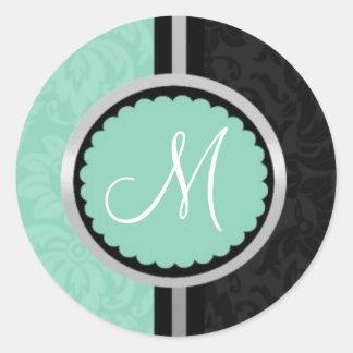 Blue Wedding Invitation Envelope Seals Classic Round Sticker