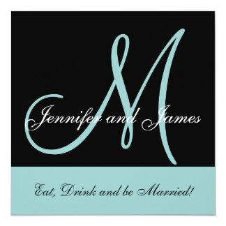 Blue Wedding Invitation Monogram Saying Names