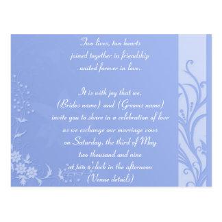 Blue wedding invitation postcard