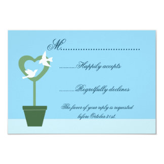 Blue Wedding Invitation RSVP with Doves on Topiary