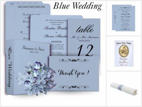 Blue Wedding Invitation Suite