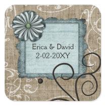 blue wedding label
